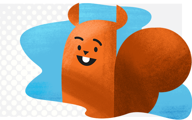 What Makes ROI Online Different? - Squirrel Mascot in blue abstract background