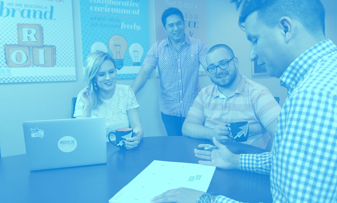 Team of marketing professionals working on a campaign