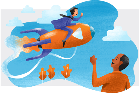 A-man-riding-rocket-while-another-man-cheers-him-on-illustration